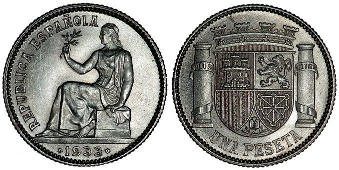 Peseta, Coins, Spanish, Money, Currency, Cash, Metal