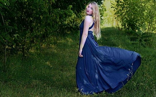 Girl, Blonde, Dress, Blue, Nature