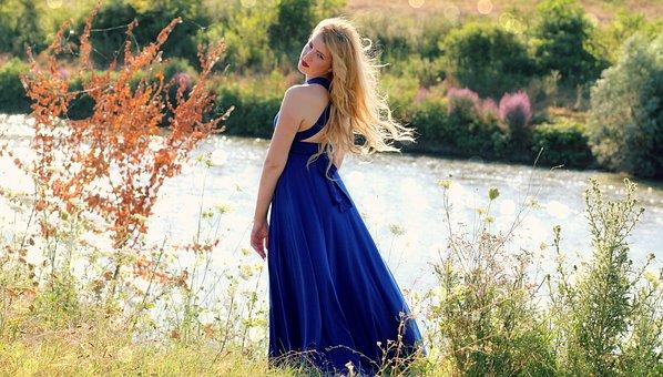 Girl, Blonde, Dress, Blue, Lake, Nature