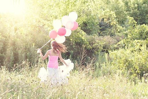 Woman, Balloons, Summer, Field, Pink, Happy