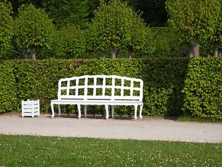 Wooden Bench, White, Rest, Sit, Click, Guests Can Enjoy