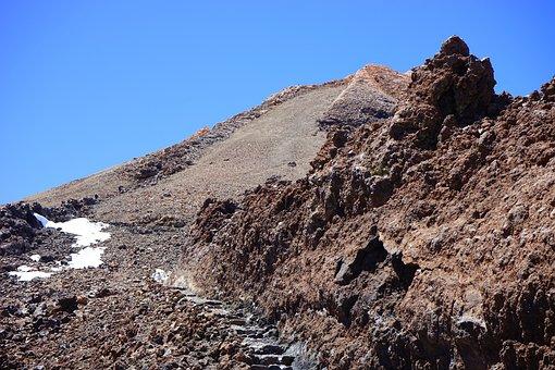 Trail, Teide, Summit, Rise, Path, Lava, Lava Flow