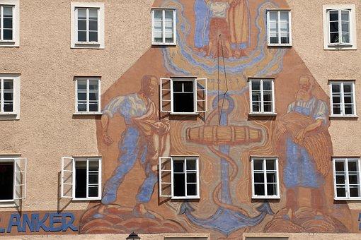 Wall, Window, Facade, Anchor, Men, Letters, Salzburg