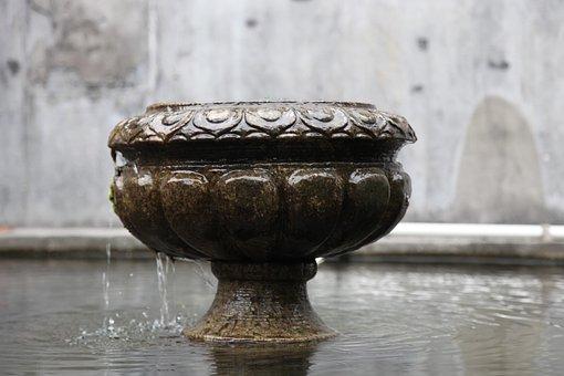 Water, Flow, Stone Carving, Mid, Pool, Xinxing