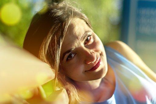 Smile, Girl, Photo, Smiles, Model, Sun, On The Bench
