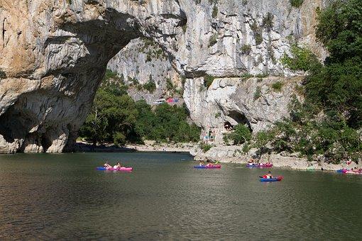 Landscape, Ardèche, River, Bow Bridge