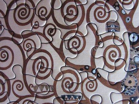Puzzle, Spirals, Klimt, Art Nouveau, Pattern