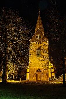 Church, Building, Germany, Steeple, Night, Atmosphere