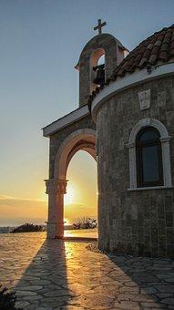 Cyprus, Ayia Napa, Ayios Epifanios, Church, Sunset