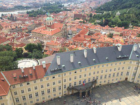Prague, City View, High, Perspective, Castle, Roofs