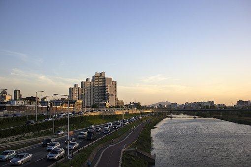Riverside, At Dusk, Road, Cloud, Cityscape, City View