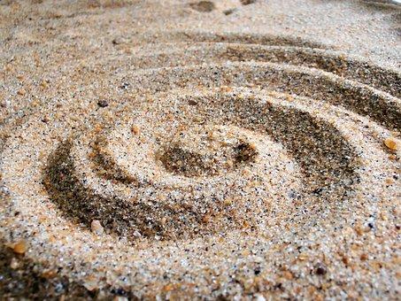 Sand, Sand Art, Beach, Spiral, Design, Nature, Coast