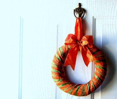 Wreath, Halloween, Fall, Autumn, Orange, Door