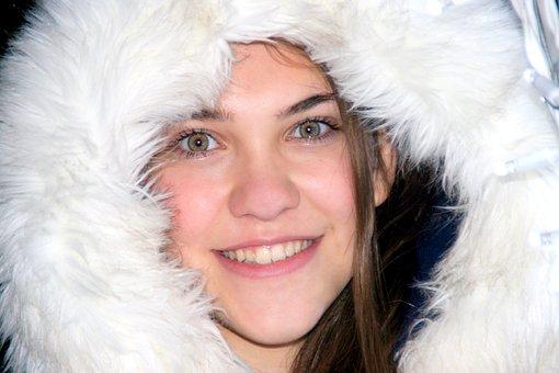 Girl, Fur, Hood, Lights, Holidays, Winter, Smile