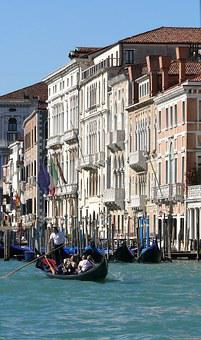 Venice, Italy, Gondolas, Bridge, Channel, Gondoliers