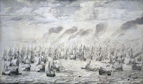 Battle, Naval Battle, War, Scheveningen, 1653, Drawing