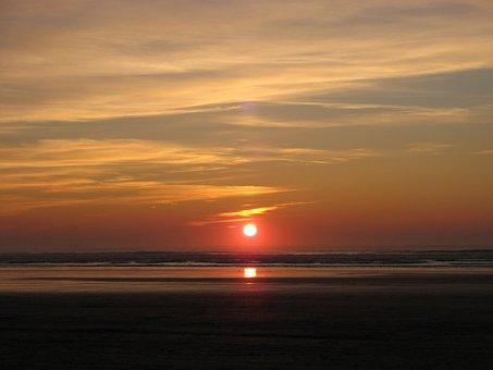 Sunset, Seashore, Sea, Pendine Sands, Wales, Beach