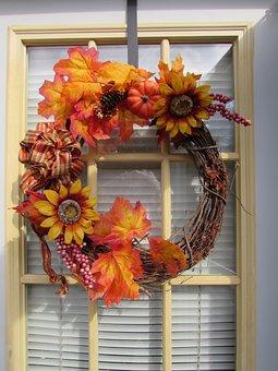 Wreath, Fall, Autumn, Season, Leaves, Thanksgiving