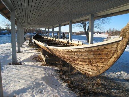 Sweden, Boat, Ship, Shed, Storage, Winter, Snow, Nature