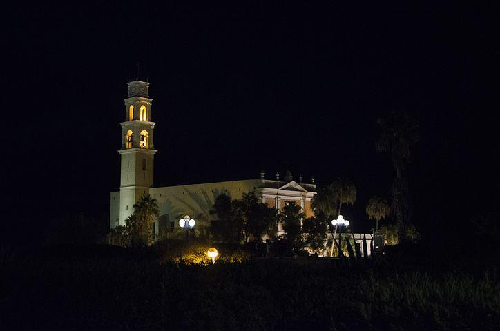 Jaffa, Israel, Church, Night, Tower, Architecture