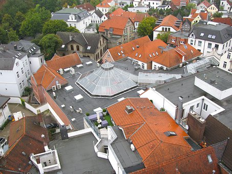 Oldenburg, Germany, City, Town, Rooftops, Buildings