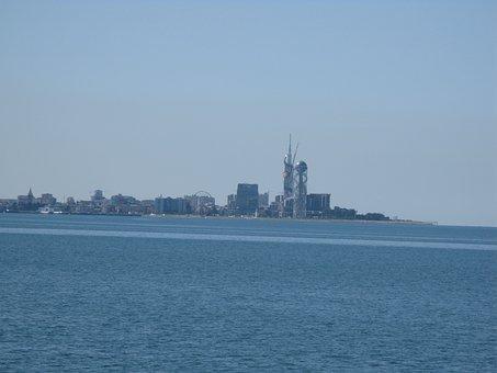 Batumi, Georgia, City, Sea, Sky, Landscape, Blue