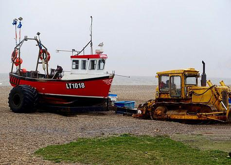 Boat, Tractor, Seaside, Fishing, Transport, Vehicle