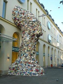 Book, Linz, City, Sculpture, Pedestrian Zone, Austria