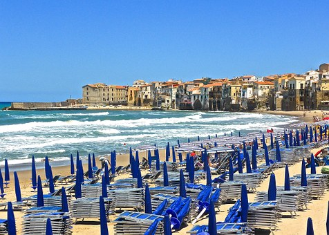 Seaside, Cefalu, Sicily, Chairs, Shore, Relax, Holiday