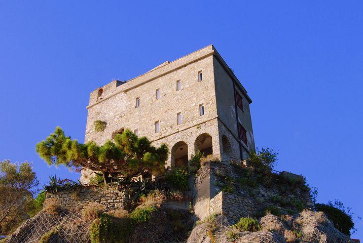 Castle, Cliff, Rock, Sky, Monterosso, Liguria, Bushes