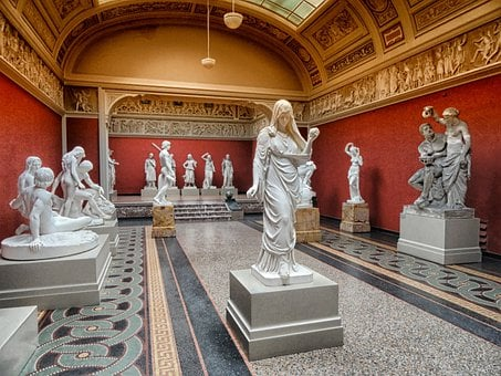 Copenhagen, Denmark, Art Gallery, Interior, Sculptures
