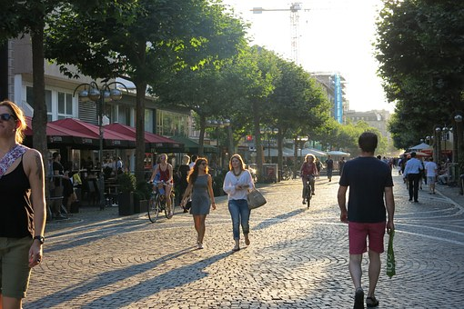 Pedestrian Zone, Shopping, City, Summer, Downtown