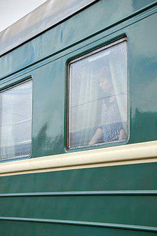 Zugabteil, Train, Drive, Window, Woman