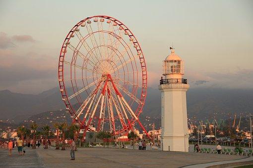 Georgia, Batumi, Sunset, Ferris Wheel, Summer, City
