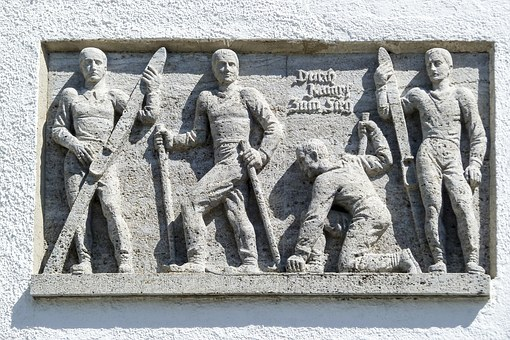 Wall Fresco, Group, Man, Farmer, Stucco, Sculpture