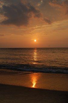 Sunset, Gold, Surf, Sun, Hawaii, Maui, Ocean, Pacific