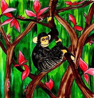 Watercolor, Illustration, Painting, Monkey, Chimp, Art