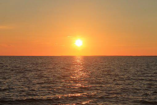Baltic Sea, Sea, Sunset, Gold, Nature, Water, Sun