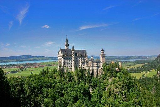Castle, Forest, Woods, River, Hills, Sky, Nature