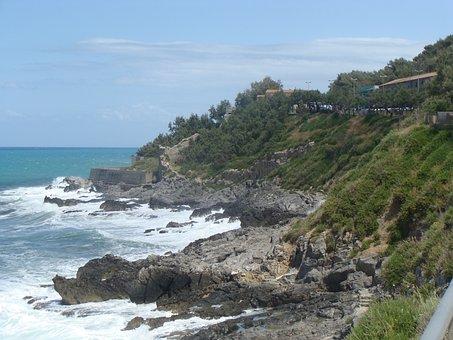 Szicilia, Part, Cefalù, Beautiful, Water, Rocky Shore