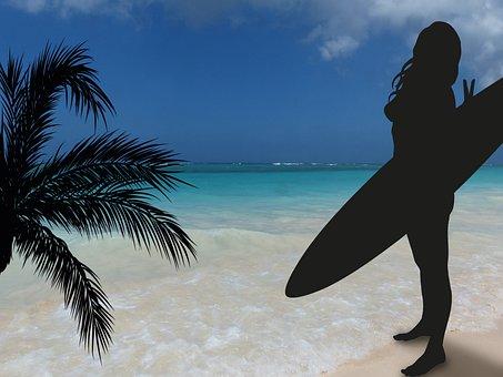 Surfer, Sun, Sea, Beach, Sand, Clouds, Sky, Blue