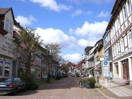 Uslar, Shopping Street, Village, Pedestrian Zone, Truss