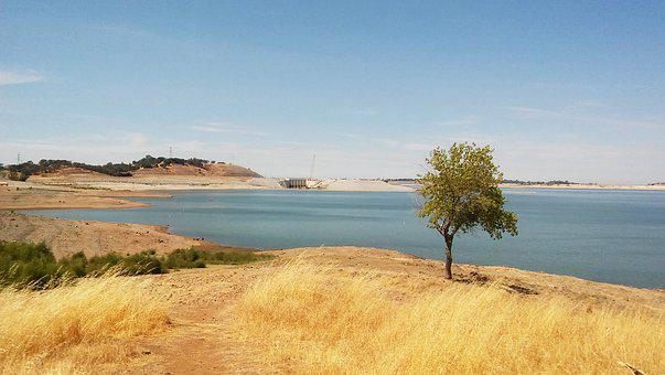Folsom Lake, Folsom Dam, Water, Sky, Fall, Blue Sky
