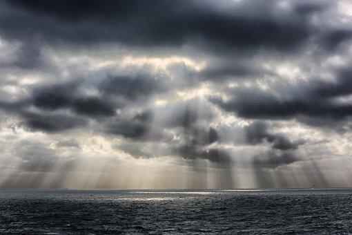 Sun's Rays, Sea, Clouds, Waves, Ocean, Maritime