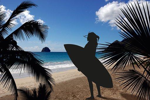 Surfer, Sun, Sea, Beach, Sand, Island, Clouds, Sky