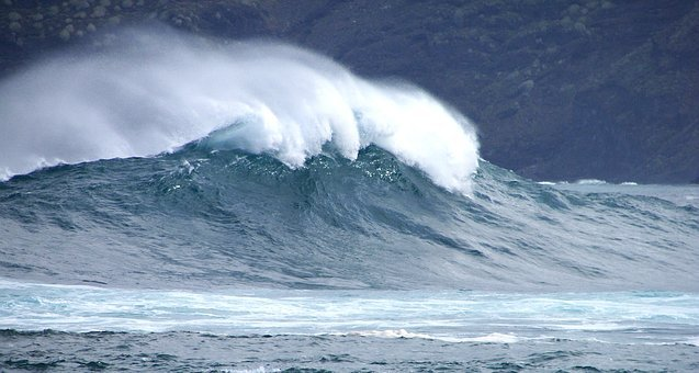 Wave, Violent, Water, Sea, Tenerife, Wind, Head, Surf