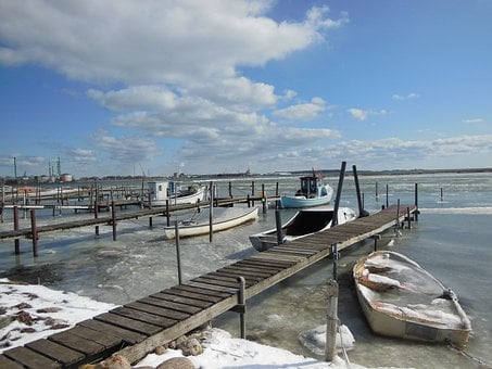 Natural Harbor, Jetty, Ice, Water, Winter, Blue Sky