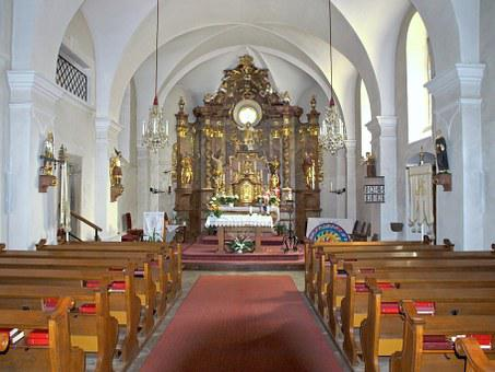 Langschlag, Hl Stephan, Church, Interior, Aisle, Altar