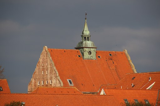 Roof, House, City, Denmark, Old, Red, Roof Tiles, Sky