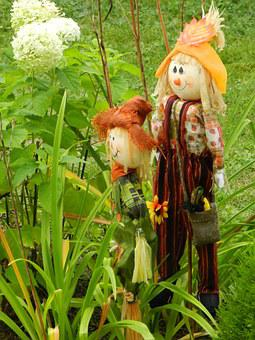 Doll, Fall, Flower Bed, Flowers